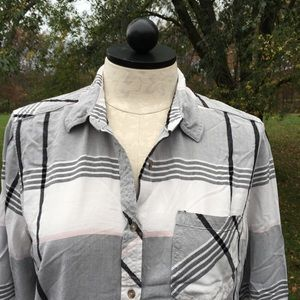 Universal Thread Gray Plaid Flannel Shirt Top XL